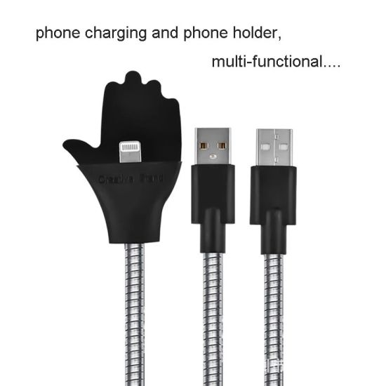 Wholesale Creative Lazy Phone Stent USB Charging Metal Hose Flexible USB Cable