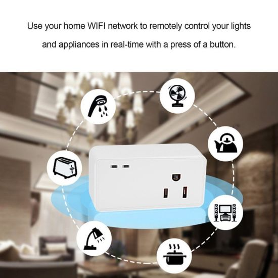 Timethinker Smart Socket WiFi Switch Plug APP Remote Control Ewelink  Wireless Us Adapter Timer Work with Alexa Echo Google Home