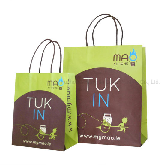 Printed You Logo Kraft Paper Take out Bag with Handle