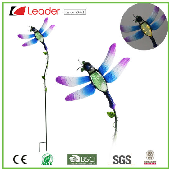 Solar Metal Dragonfly Stake with Solar Lamp for Outdoor Decoration pictures & photos