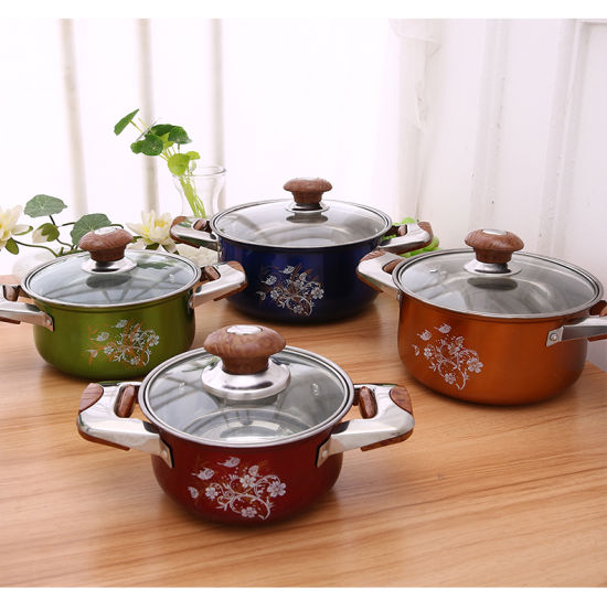 4PCS High Quality Multi-Colorful Stainless Steel Pot Set with Wooden Grip