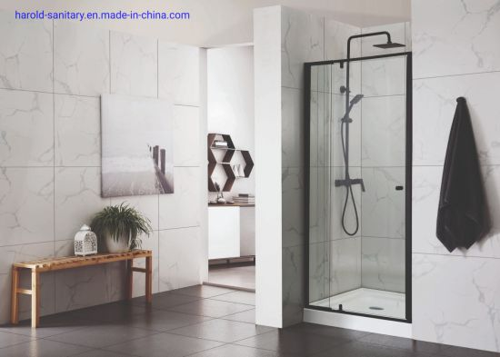 Straight Matt Black Pivot Shower Enclosure With Magnetic Frame China Shower Enclosure Shower Screen Made In China Com