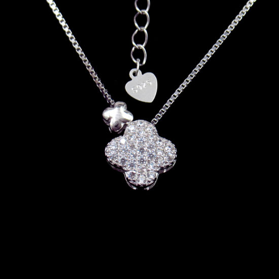 Lucky Four Leaf Clover Shaped 925 Silver CZ Stone Party Necklace
