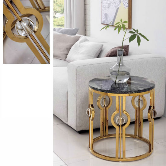Home Furniture Living Room Restaurant Coffee Table Golden Metal Modern Furniture Sofa Corner Side Table pictures & photos
