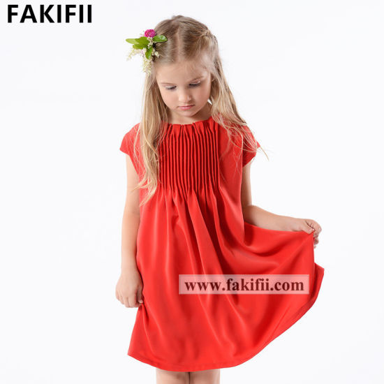 Cutomised Wholesale Kid Apparel Boutique Fashion Girl Red Princess Dress