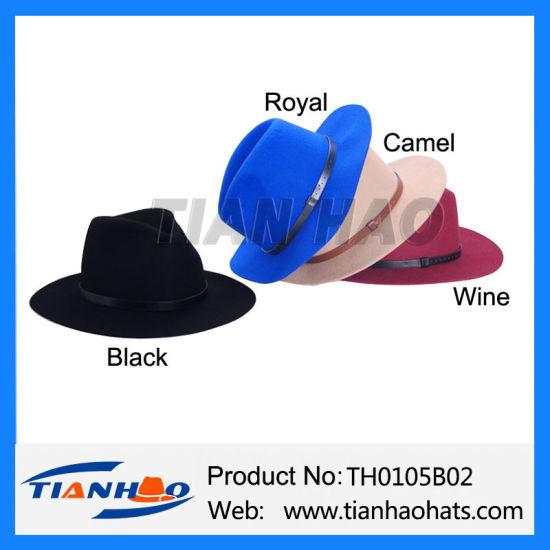dda7e61b75aab China Wide Brim Fedora Trilby Panama Wool Felt Lady Hat - China Wool ...
