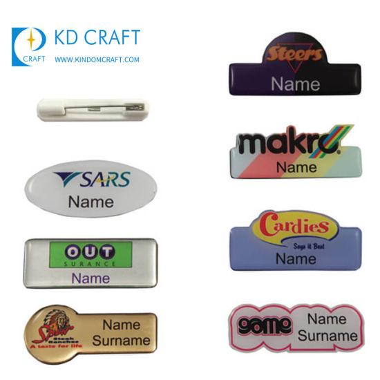 Manufacturer Cheap Custom Logo Epoxy Badge Maker Wholesale Kids Square Hat  Office Dubai Metal Printing Epoxy Coating Resin Name Pin Badge
