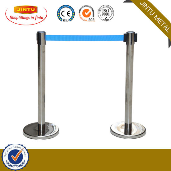 Airport, Bank Supermarket Que Manager Retractable Barrier Standing Poles
