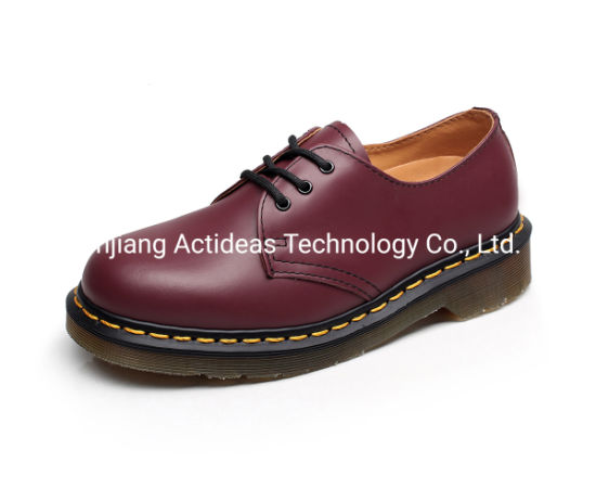 Custom Fashion Lace up Round Toe Leather Women Ankle Shoes Boots