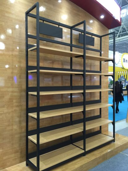 Fashion Single Side Wood and Steel Wine Display Shelf