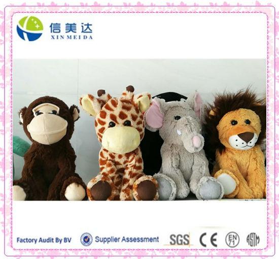 China Hot Sale Plush Soft Zoo Animals Monkey Giraffe Elephant Lion