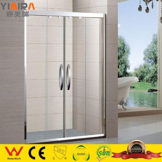 Stainless Steel Framed 4 Panels Two Sliding Shower Door Shower Partitions