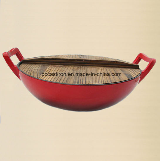 Cast Iron Wok Manufacturer From China Inside White Outside Red pictures & photos
