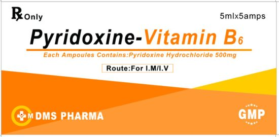 Human Medicine Pyridoxine Hydrochloride Injection 500mg/5ml Vitamin B6