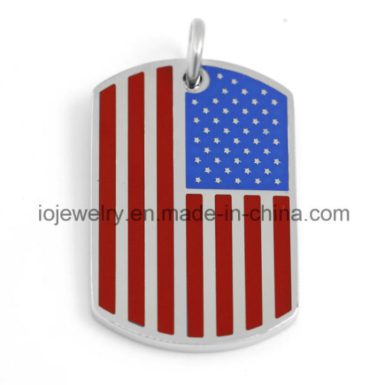 Customized Surgical Steel Dog Tag USA Flag Pendant