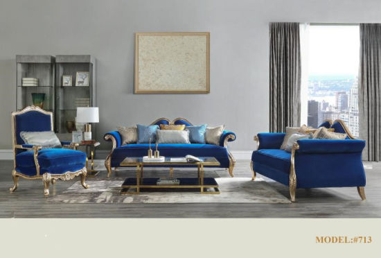 Fabric Wood Frame Sofa with Golden Finish pictures & photos