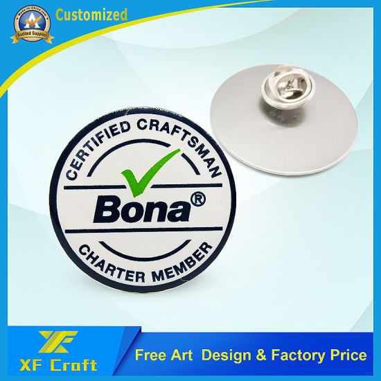 Custom Stainless Steel Printed Metal Craft Souvenir Name Company Logo Badge Carnival Circle Resin Lapel Pin for Promotion Gift (BG28)