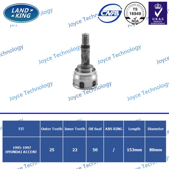 OEM Factory Auto Spare Parts Outer CV Joint Hy-100 (O: 25 I: 22 ABS: 50) for Hyundai Accent