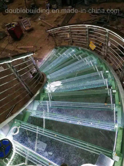 Custom LED Light Staircase Curved Stairs Crushed Glass Tread pictures & photos