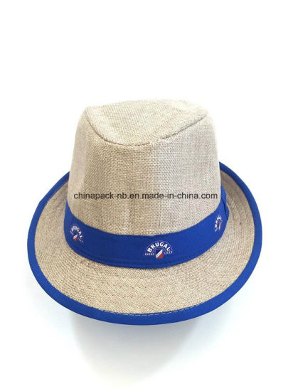 45fd0b44 China Natural Linen Fedora Straw Sun Hats for Promotion - China ...