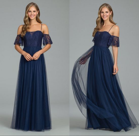 off Shoulder Lace A Line Evening Prom Bridesmaid Dress Qjm5528
