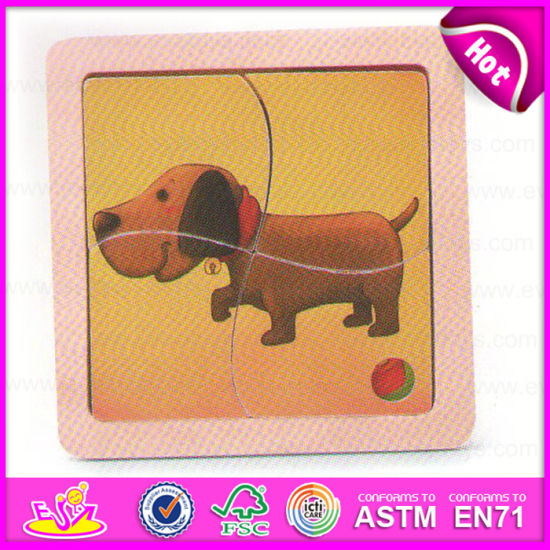 2015 Easy Play Kid Wooden Jigsaw Animal Puzzle Toy, Lovely Dog Deisgn Wooden Puzzle Toy, DIY Funny Wooden Cubic Puzzle Toy W14c169