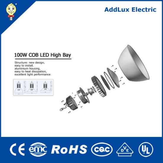 100W CE IP65 COB Warm White LED High Bay Light