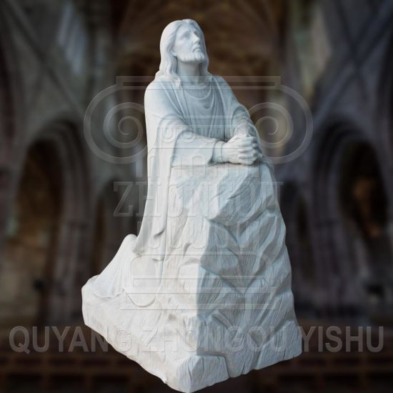 White Marble Stone Religious Sculpture Prayer Jesus Statue for Church and Garden Decoration