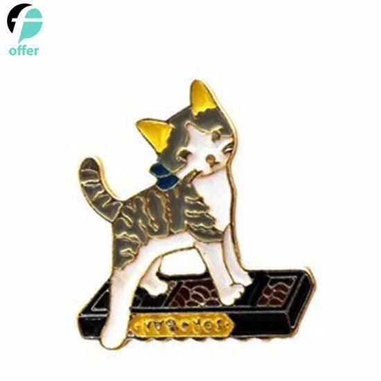 High Quality Cartoon Naughty Cat Metal Dripping Brooch