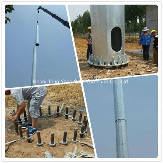 Hot DIP Galvanized Steel Tube Telecommunication Pole