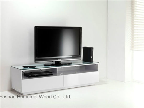 China Simple Design Wooden Tv Stand With Glass Top Hf Ey08316
