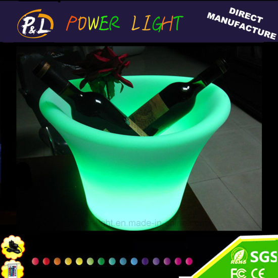 Plastic Multi-Colors Glowing LED Wine Ice Bucket pictures & photos