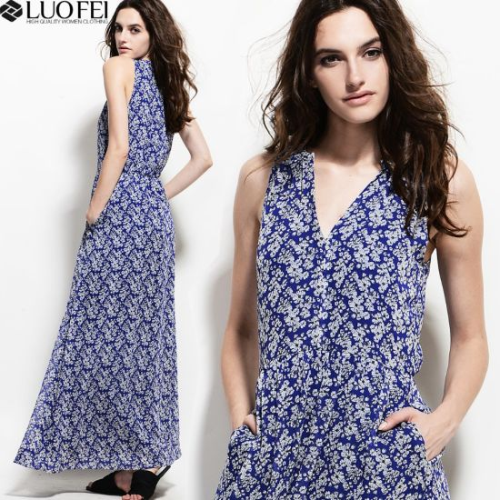 Women Custom Floral Dress Long Length with Buttons Down pictures & photos