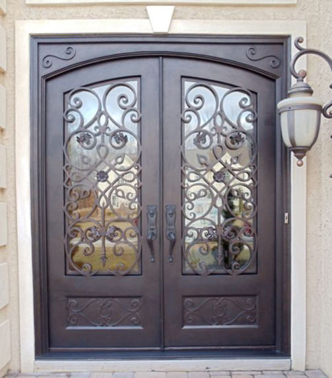 China Low Cost Super Quality Wrought Iron Front Doors Design China