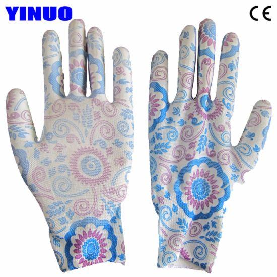 Flower Color Polyster Liner PU Coated Garden Electrical Safety Gloves