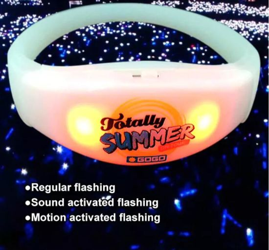 Promotion Product Concert Custom Sound Activated Flashing LED Silicone Bracelet, Motion Activated LED Glow Lighting Wristband pictures & photos