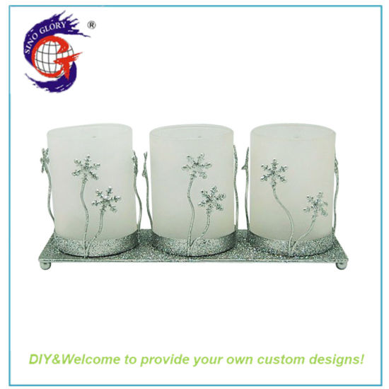 Large Crystal Glass Floor Standing Terrarium Candle Holders