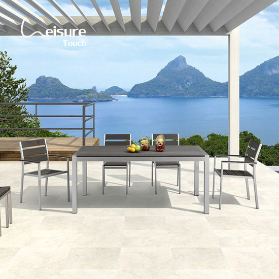 Hot Selling Balcony Outdoor Aluminum Dining Table Garden Set with Plastic Wood Chairs - Marley (Ready To Ship)