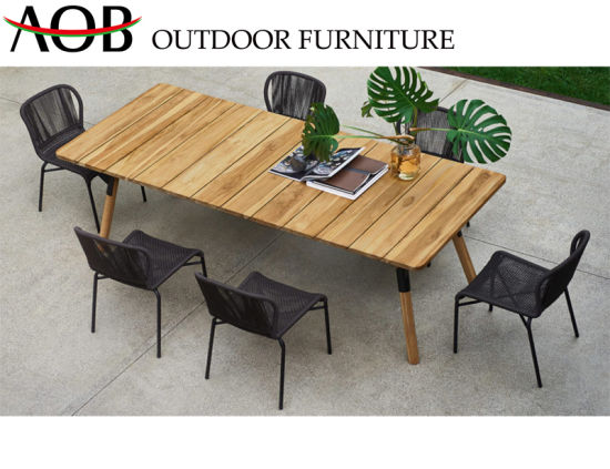 Chinese Modern Home Outdoor Garden Armless Chair Cafe Rope Teak Wood Table Set Aluminum Restaurant Dining Furniture China Outdoor Furniture Dining Furniture
