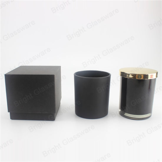 9oz Black Glass Candle Jar with Gold Metal Lid and Black Box Wholesale