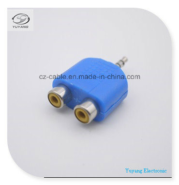 3.5mm/3.5 Mono/Stereo Adapter/Plug to 2xrca Jacks (colour) for RCA/AV/Audio Transfer pictures & photos