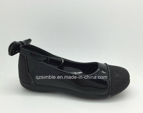 China Hot Selling Flat Kids Dress Shoes With Black Shiny Pu China
