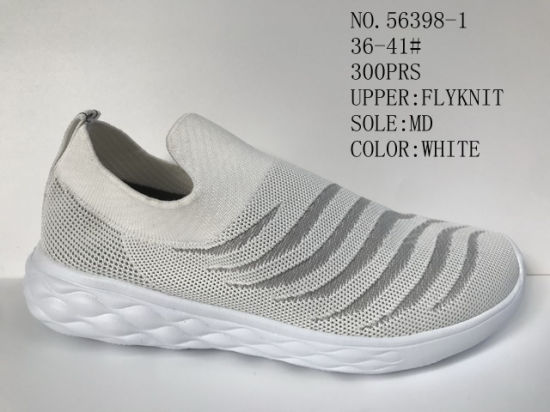Slip on Shoes Flyknit Upper Lady Sport Stock Shoes