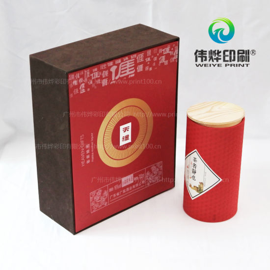 Round Food Packaging Box with Fancy Paper Printing and Sticker pictures & photos