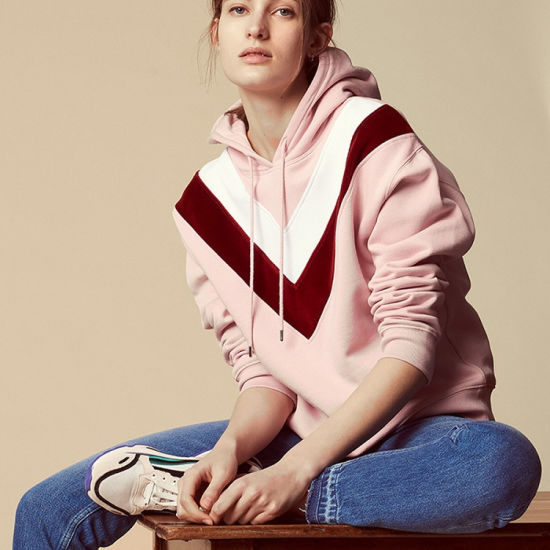 China Manufacturer Qute Pink V Shape Custom Logo Womens Hoodies