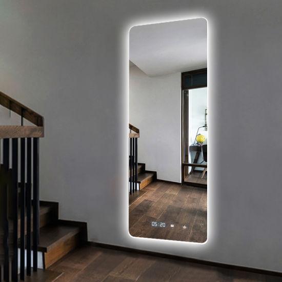 Dressing Room Backlit Lighted Full Length Wall Mount Floor Mirror with LED Lighting