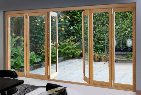 China American Style Solid Wood Aluminium French Door Solid Teak