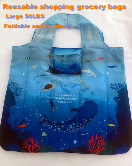Polyester Fabric Raw-Material Shopping Grocery Bags 50lbs Foldable and Washable