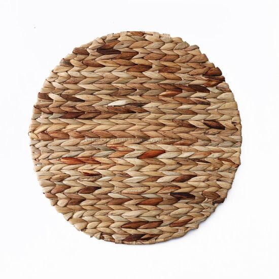 Water Hyacinth Natural Handmade Hand Woven Round Shape Placemat for Outdoor Home Decoration Handmade Round Straw Havana Woven Table Dinner Placemat Water Hyacin