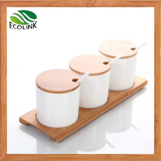 Customize Ceramic Sugar / Spice Jar with Bamboo Stand